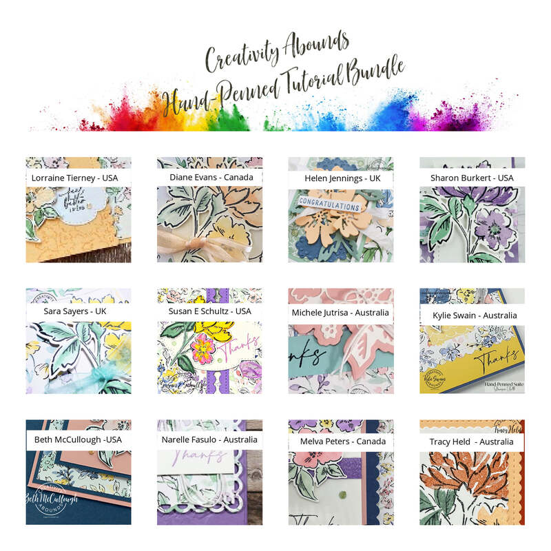 Collage photo of all the Hand-Penned tutorial bundle with sneak peeks of each card.