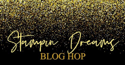 graphic for the Stampin Dreams blog hop decorated with gold glitz!