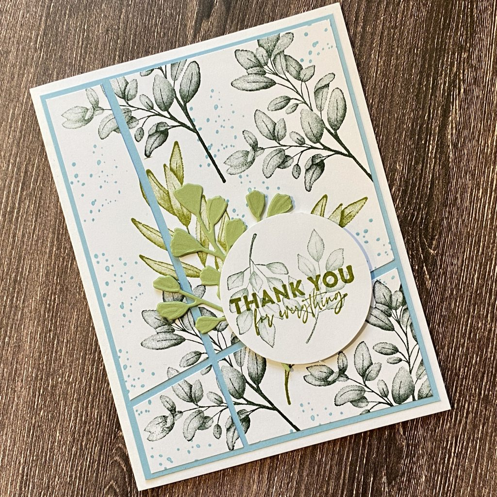Photo of a handmade card stamped in blues and greens using the Forever Fern stamp set and demonstrating the Quick and Easy Card Front.