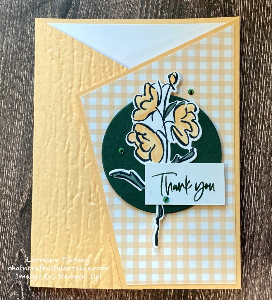 Photo of handmade card in Pale Papaya and featuring an Angled Fold with the Color & Contour Bundle