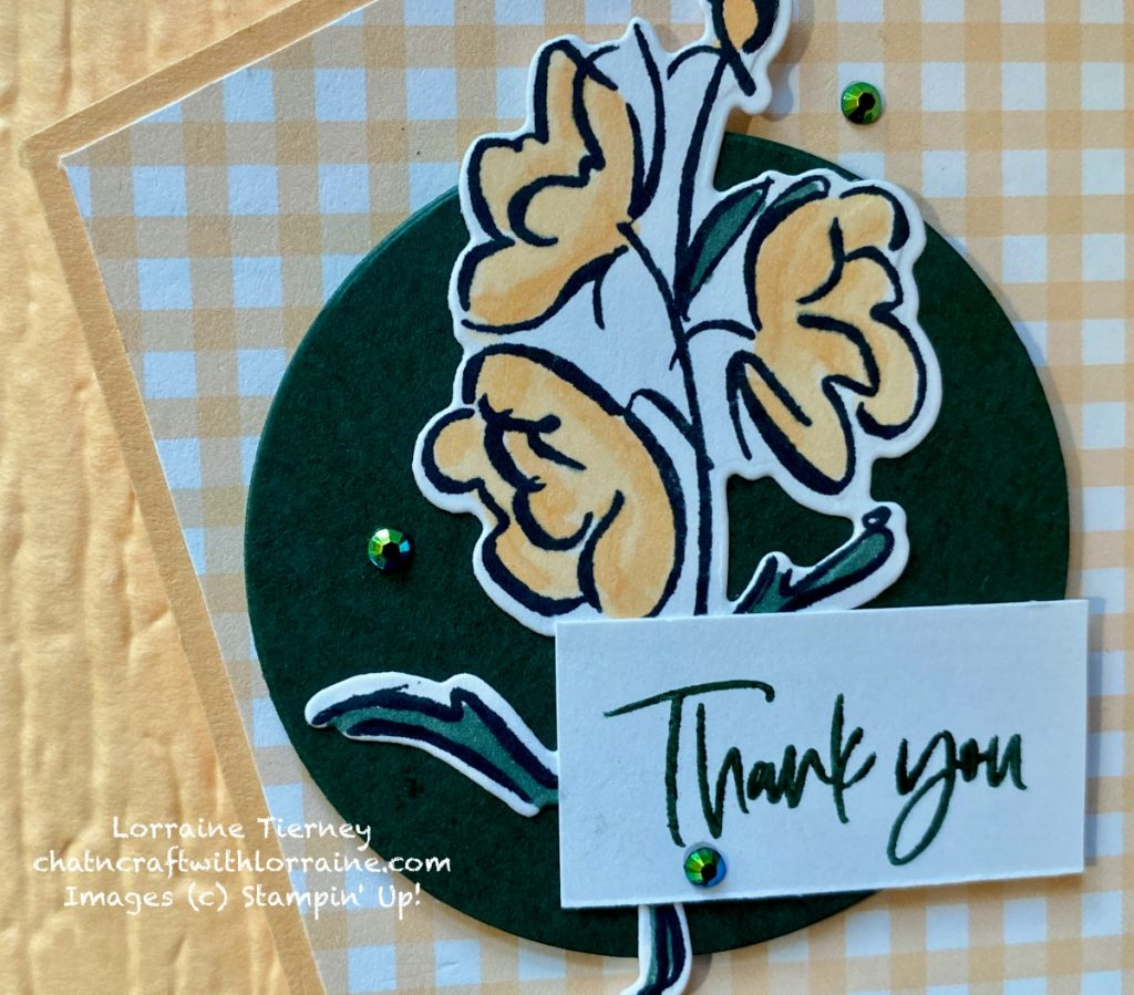 Close up photo of the sentiment and Color & Contour flower in Pale Papaya and Evening Evergreen