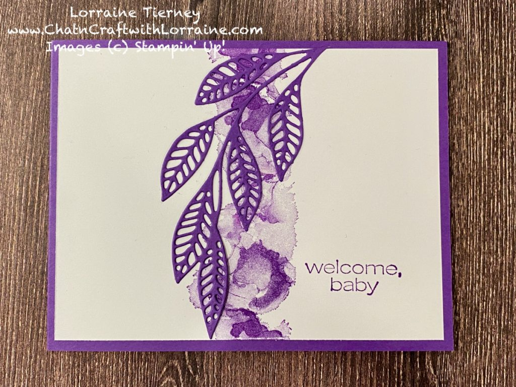 """Photo of Clean and Simple card in gorgeous grape color with sentiment of """"welcome, baby."""""""