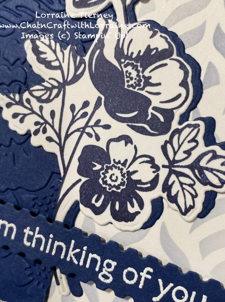 Close up photo showing the detail of the layered die cut stamped image.