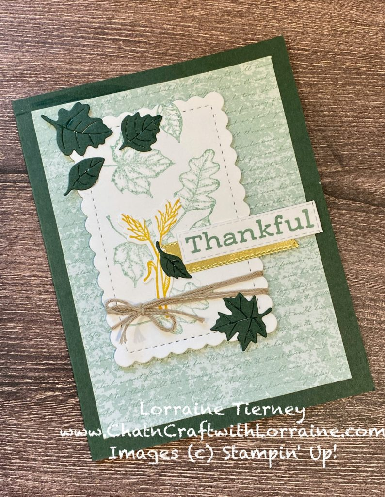 """Photo of handmade greeting card using Time of Giving stamps and dies with the sentiment """"Thankful."""" Colors are Evening Evergreen and Soft succulent."""