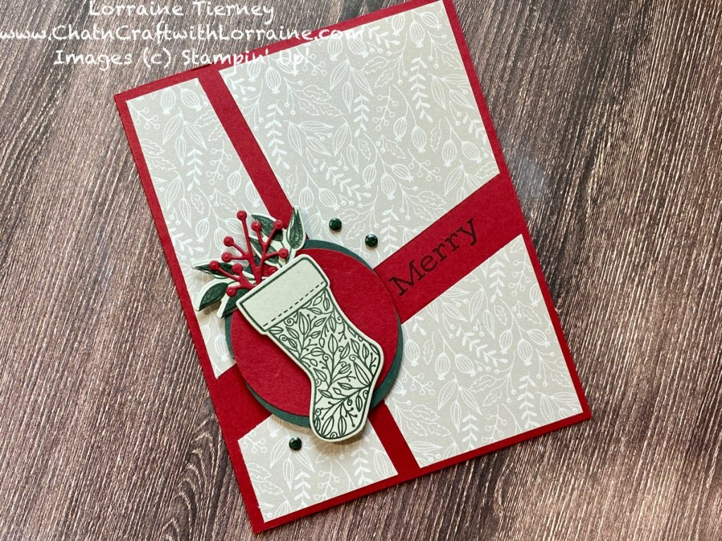 Photograph of a Quick and Easy Christmas card using Tidings & Trimmings stamps and papers in Cherry Cobbler and Evening Evergreen.