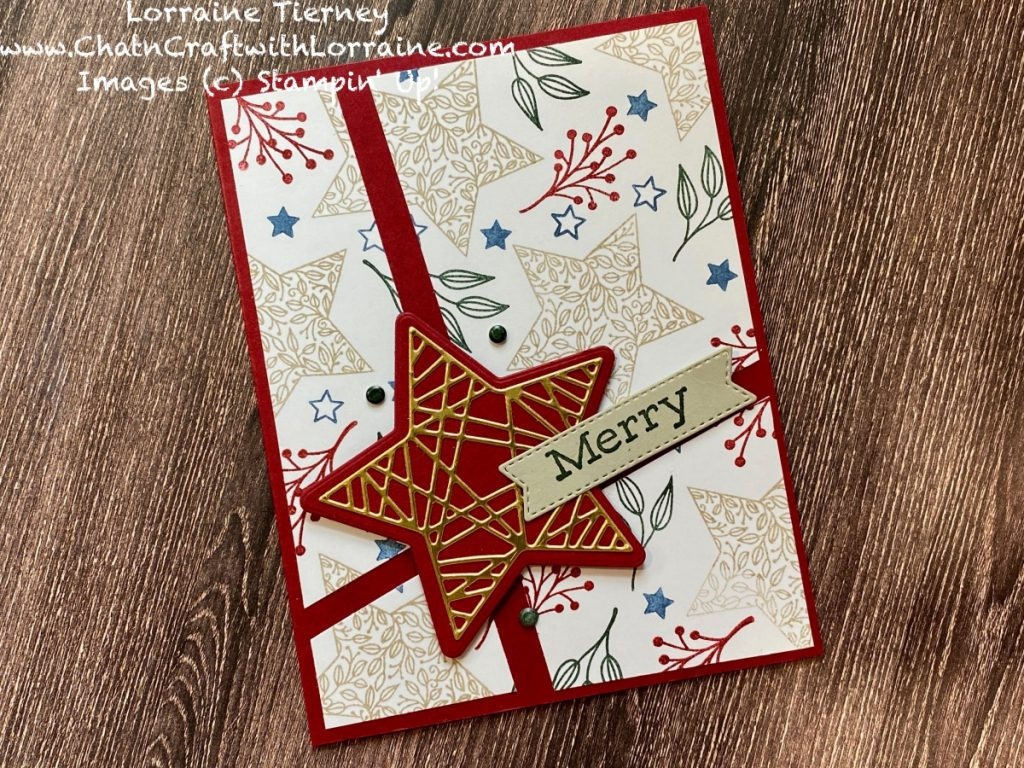 Photograph of another example of a Quick and Easy card front using Tidings & Trimmings stamp set in Cherry Cobbler, Crumb Cake and other Stampin' Up! colors.