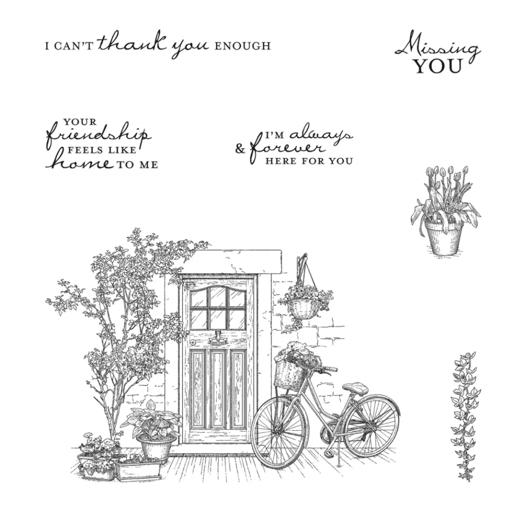 Black and white photo of the stamp set Feels Like Home which is free with Sale-A-Bration.