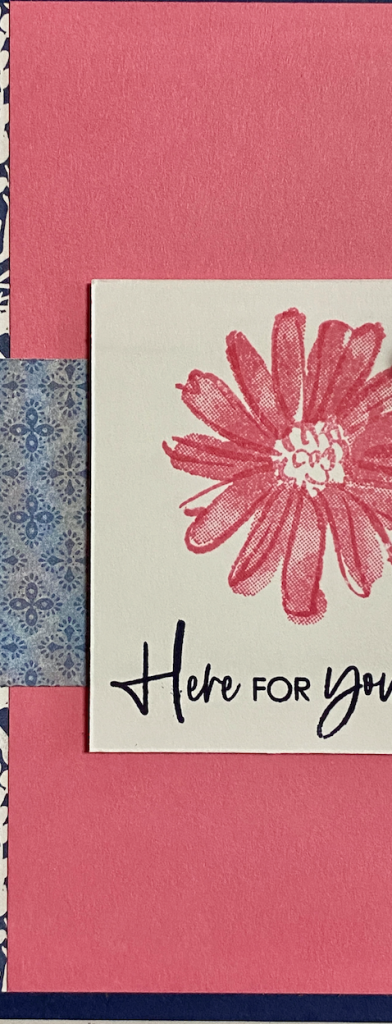 Close up of the Color and Contour flower and the Polished Pink piece of card stock.