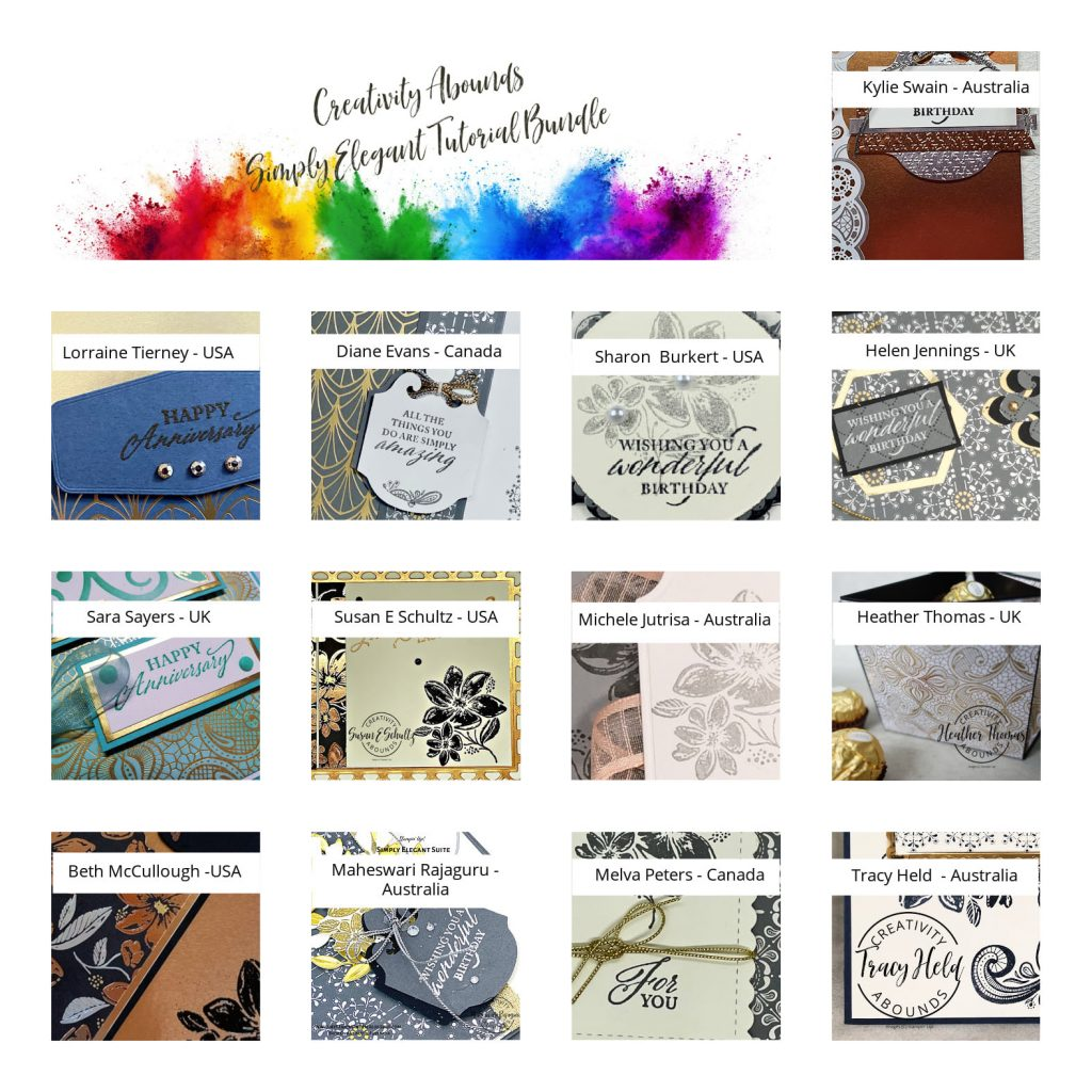 Simply Elegant Tutorial Bundle that shows 13 thumbnails of projects made with the Elegantly Said bundle.