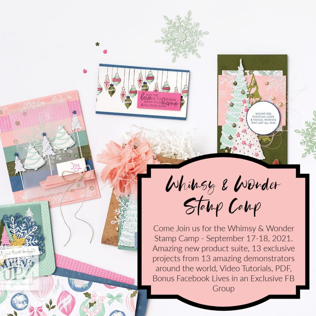 Color graphic with sample cards from the Whimsy & Wonder suite collection. Includes details on the stamp camp and how to register.