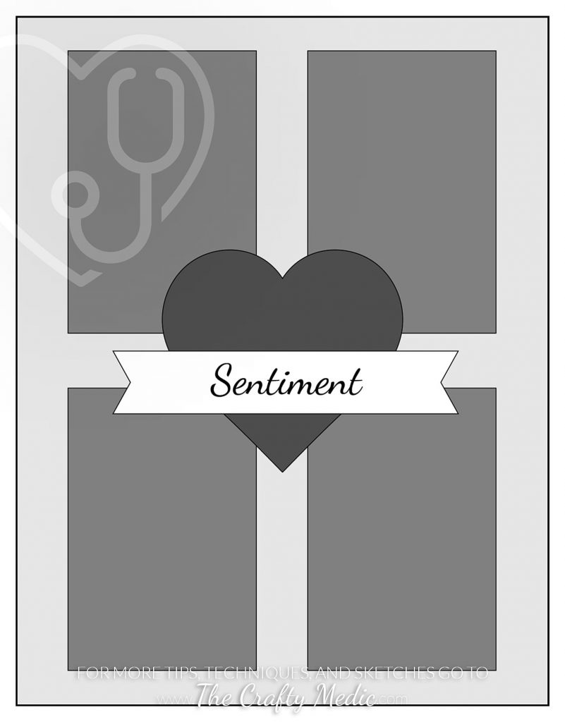 Sketch of a card with 4 rectangles centered on the card front and a large heart in the middle.