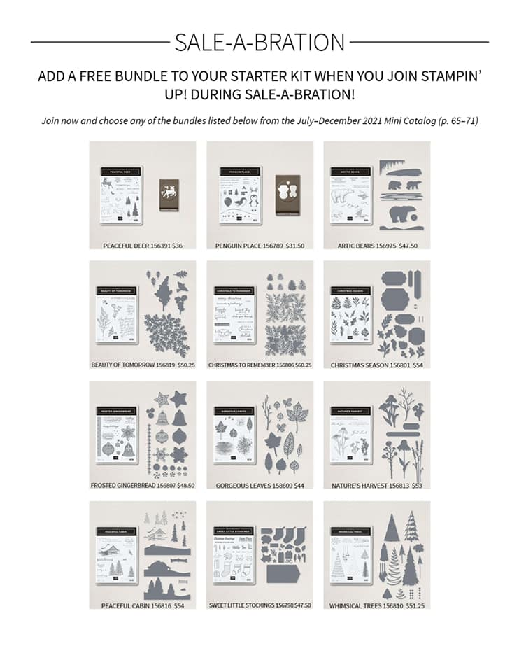 Black and white photo of 12 bundles available for free when joining Stampin' Up! between Aug 3 and Set 30, 2021.