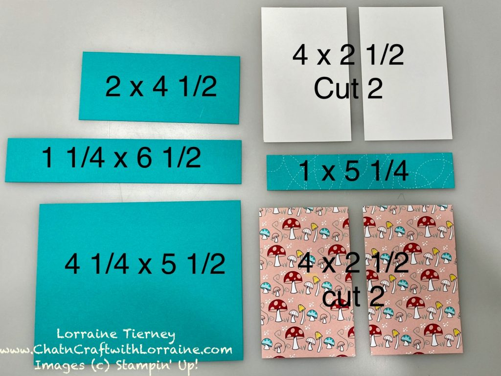 Photo with cutting sizes for each of the pieces to make the Mini Bendy card.