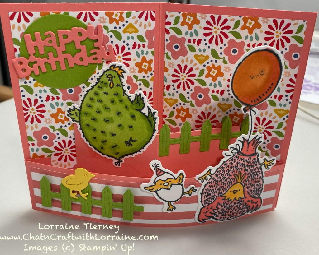 Photo of a Mini Bendy card using Pattern Party Paper and the Hey, Birthday Chick stamp set.