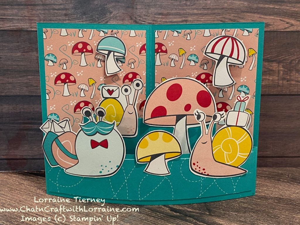 Photo of a mini bendy card using Snail Mail papers and Bermuda Bay card stock.
