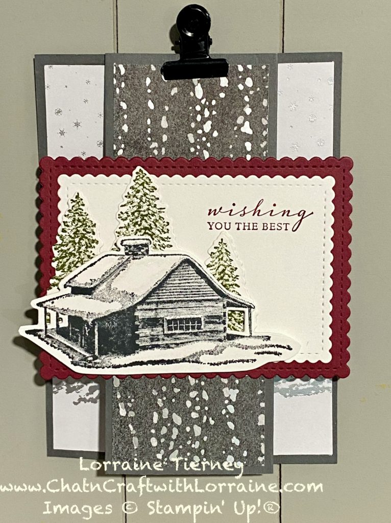 Photo of Peaceful Cabin Christmas Card using Basic Gray cardstock with Merry Merlot in a fun fold.
