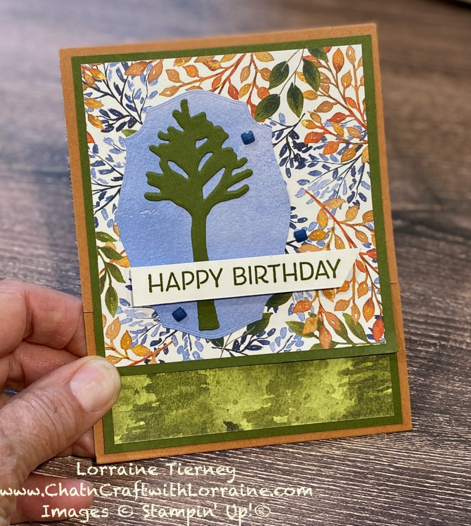 Photo of the Beauty of Friendship birthday card in Cinnamon Cider, Mossy Meadow and Misty Moonlight colors.