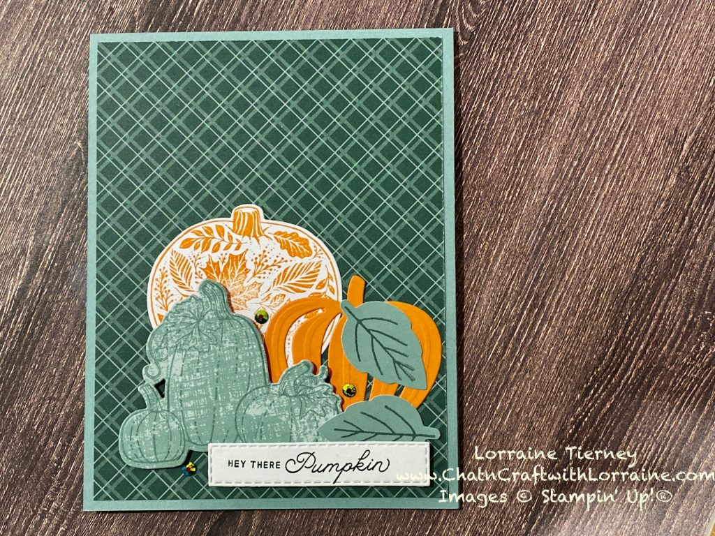 Photo of a Soft Succulent and Evening Evergreen card decorated with several pumpkins using the September 2021 Paper Pumpkin kit and the Pretty Pumpkins bundle.