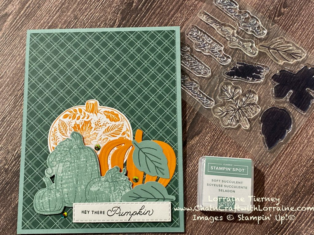 Photo of a Soft Succulent and Evening Evergreen card decorated with several pumpkins using the September 2021 Paper Pumpkin kit and the Pretty Pumpkins bundle. The stamp set and ink spot included in the Paper Pumpkin kit are also shown in the photo.