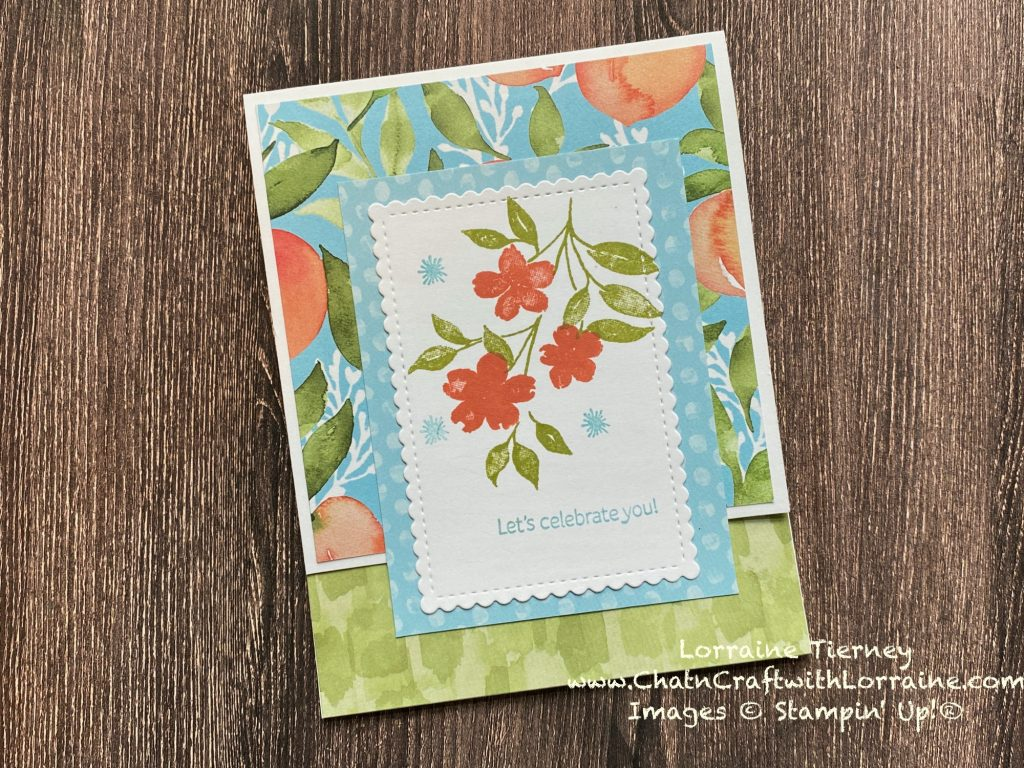 Colored photo of the Fastest Fun Fold Ever with You're a Peach papers and Sweet as a Peach stamp set by Stampin' Up! and created by ChatnCraft with Lorraine.
