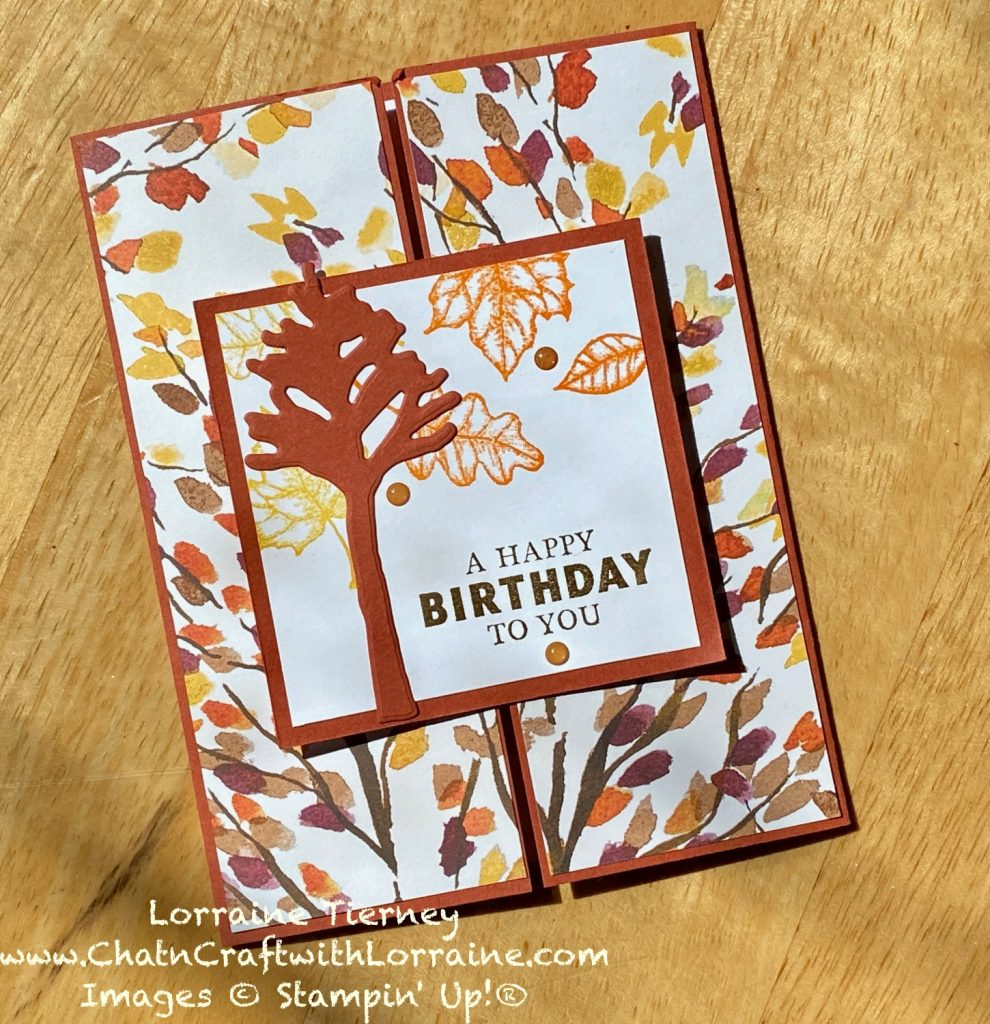 Color photo of a gatefold Slide and Lock card in the colors Pumpkin Pie, Cajun Craze, and daffodil delight. With Happy Birthday sentiment from Stampin' Up!