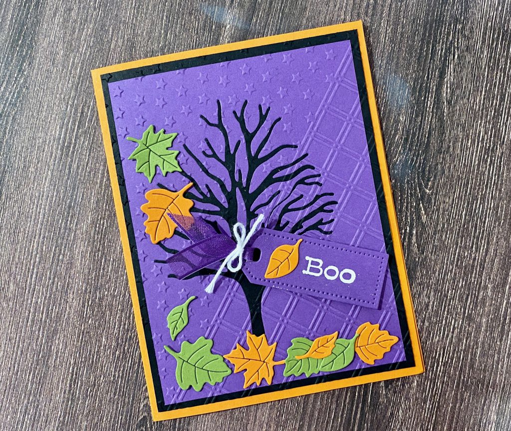"""Photo Of the Spooky Tree Halloween card with Gorgeous Grape, Pumpkin Pie and basic black creating a great back drop for leaves and a tag that says """"BOO!"""""""