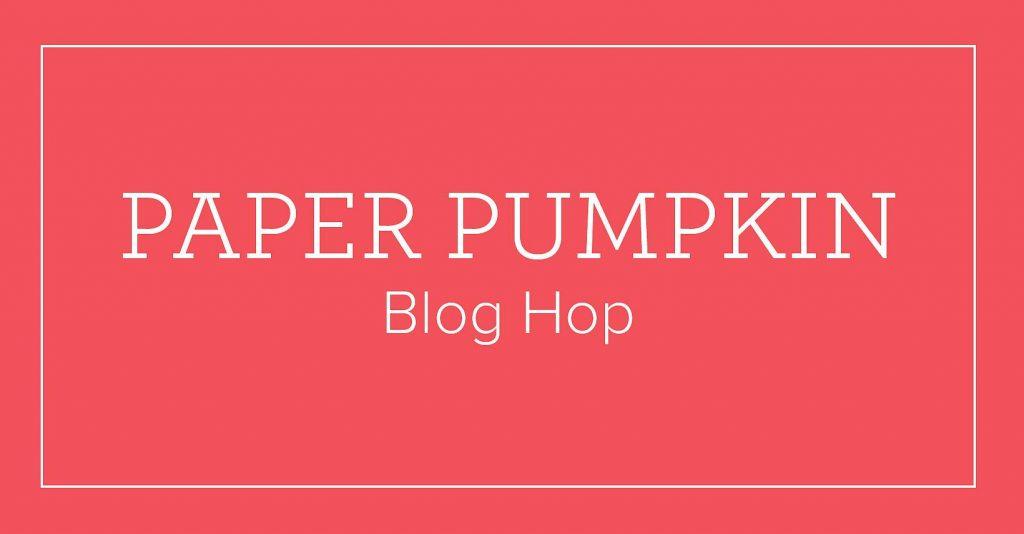 Red paper pumpkin blog hop banner